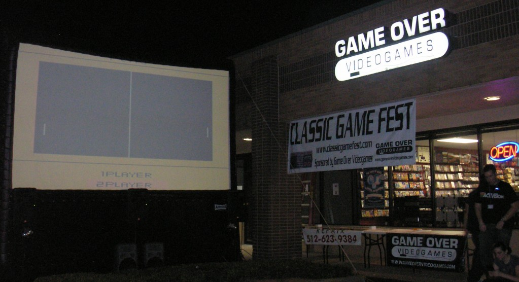 Last week's Classic Game Fest Pong contest on the movie screen outside of Austin's Game Over Video Games